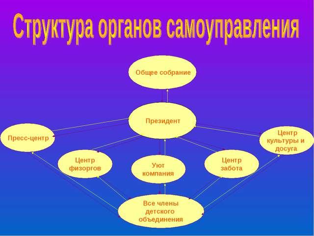 Общее собрание Президент Пресс-центр Центр физоргов Уют компания Центр забот...