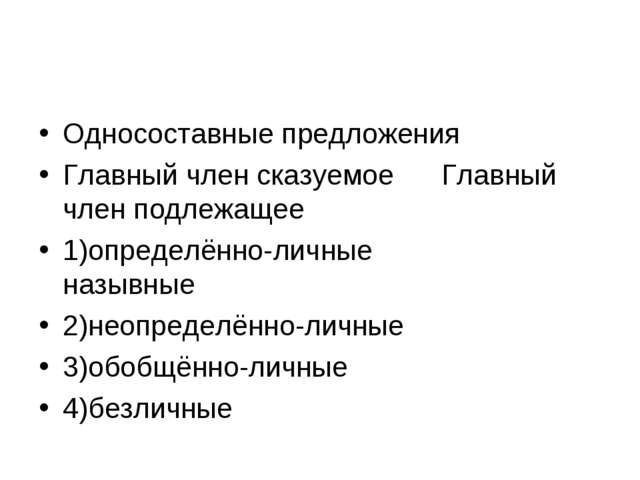 Односоставные предложения Главный член сказуемое Главный член подлежащее 1)оп...