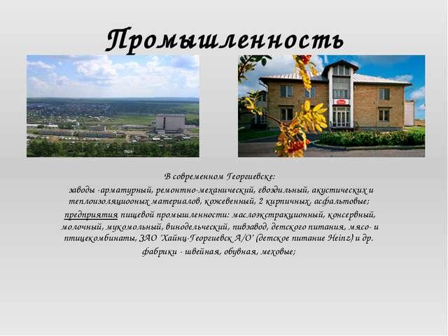 Промышленность В современном Георгиевске: заводы -арматурный, ремонтно-механи...