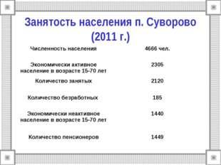 Занятость населения п. Суворово (2011 г.) Численность населения4666 чел. Эко
