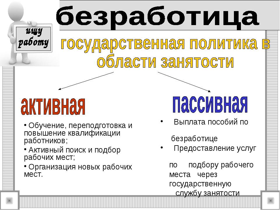 Обучение, переподготовка и повышение квалификации работников; Активный поиск...