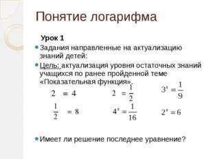 Понятие логарифма Урок 1 Задания направленные на актуализацию знаний детей: Ц