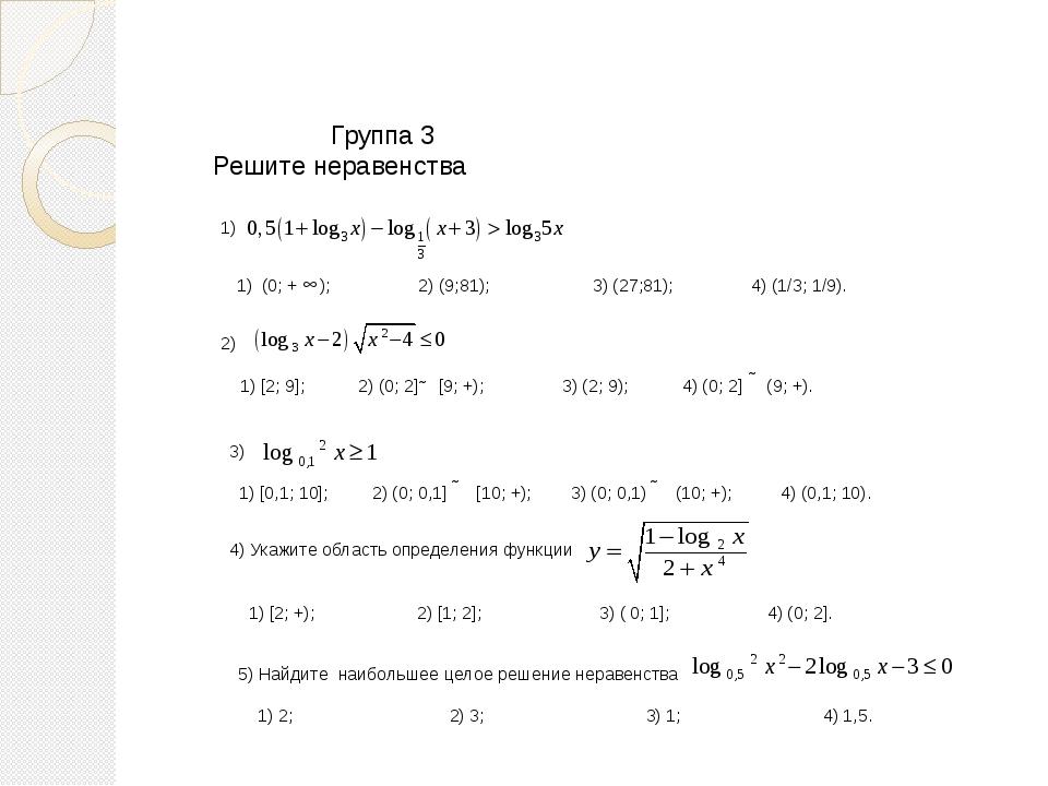 Группа 3 Решите неравенства 3) 1) [0,1; 10]; 2) (0; 0,1] [10; +); 3) (0; 0,1...