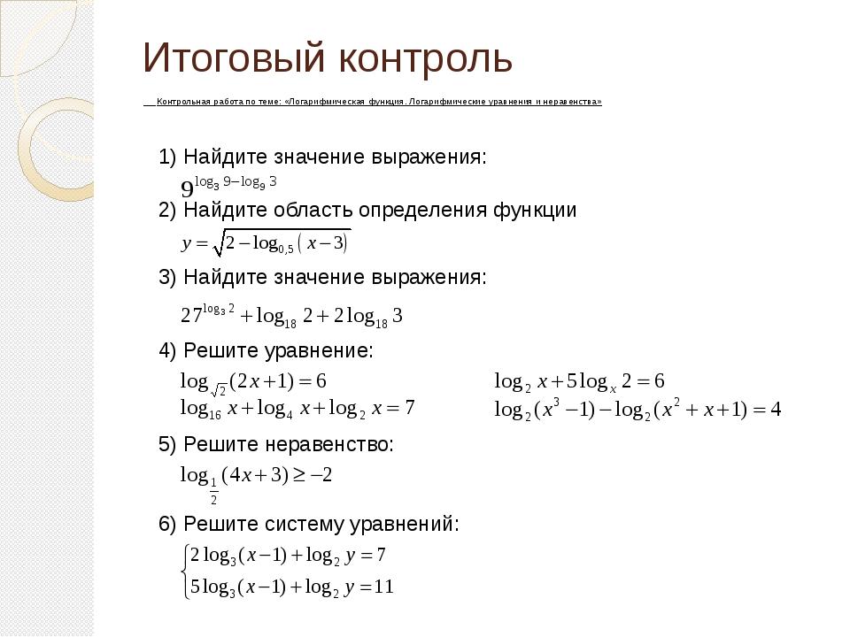 Итоговый контроль по теме Логарифмическая функция  слайда 16 Итоговый контроль Контрольная работа по теме Логарифмическая функция Логар