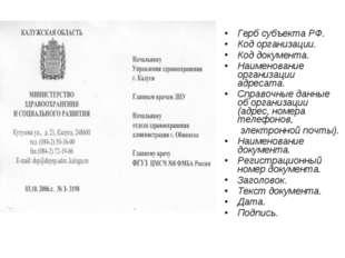 Герб субъекта РФ. Код организации. Код документа. Наименование организации ад