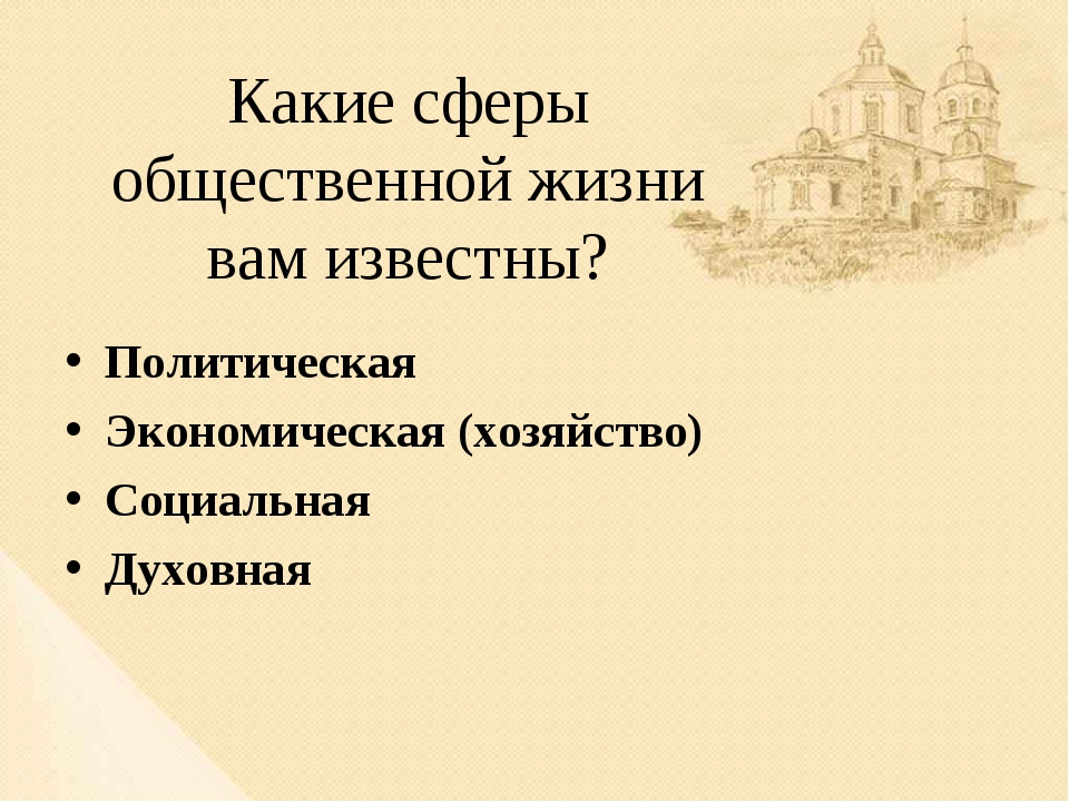 Какие сферы общественной жизни вам известны? Политическая Экономическая (хозя...