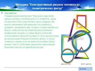 """Методика """"Конструктивный рисунок человека из геометрических фигур"""" Ход работы"""