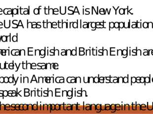 1.The capital of the USA is New York. 2.The USA has the third largest populat