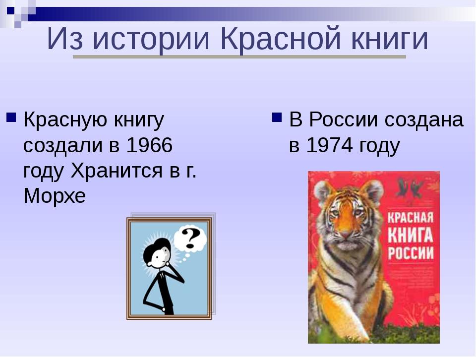 Из истории Красной книги Красную книгу создали в 1966 году Хранится в г. Мор...