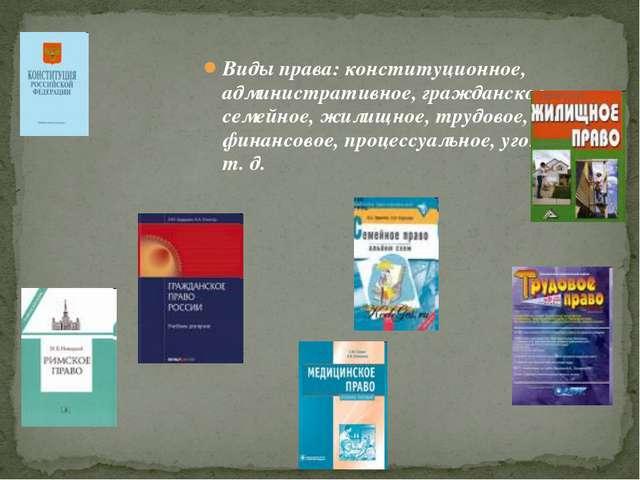 Виды права: конституционное, административное, гражданское, семейное, жилищно...