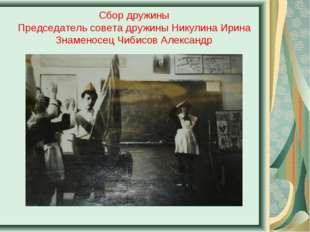 Сбор дружины Председатель совета дружины Никулина Ирина Знаменосец Чибисов Ал