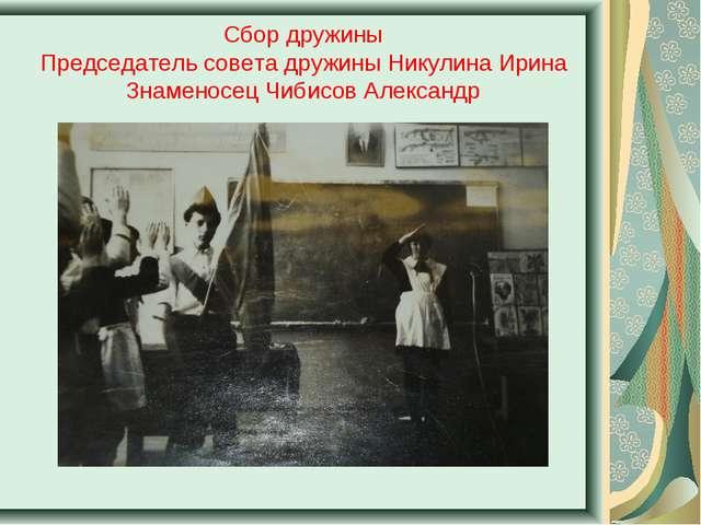 Сбор дружины Председатель совета дружины Никулина Ирина Знаменосец Чибисов Ал...