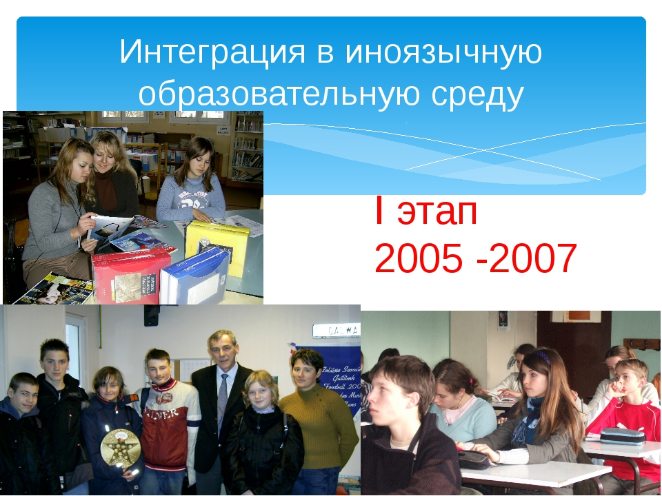 Интеграция в иноязычную образовательную среду I этап 2005 -2007
