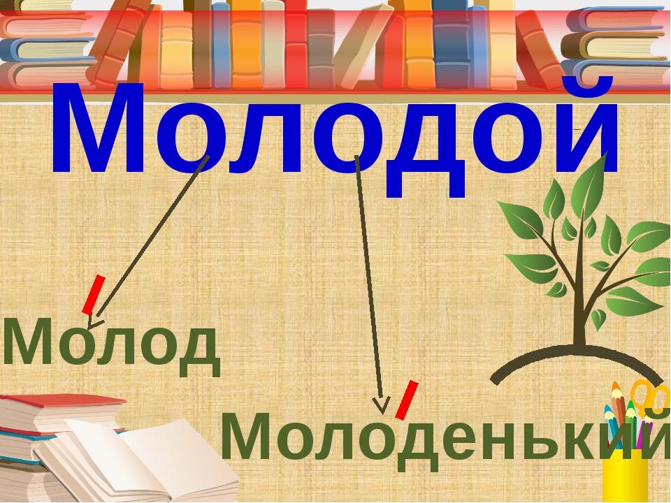 Молодой Молод Молоденький - Подберите проверочное слово к первому слогу в сл...
