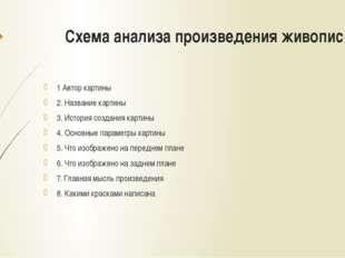 Схема анализа произведения живописи 1 Автор картины 2. Название картины 3. Ис