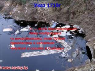 Указ 1719г « … если кто осквернит Неву отбросами и нечистотами, тот будет при
