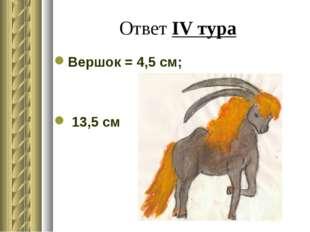 Ответ IV тура Вершок = 4,5 см; 13,5 см