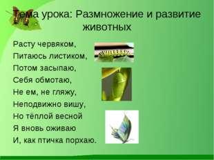 Тема урока: Размножение и развитие животных Расту червяком, Питаюсь листиком,