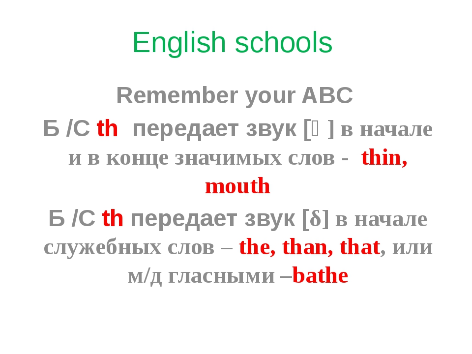 English schools Remember your ABC Б /С th передает звук [ө] в начале и в конц...