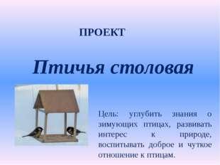 Птичья столовая Цель: углубить знания о зимующих птицах, развивать интерес к