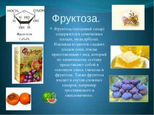 Фруктоза. Фруктоза (плодовый сахар) содержится в семечковых плодах, меде,арбу