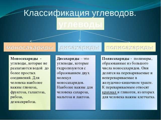 Классификация углеводов. углеводы Моносахариды - углеводы, которые не разлага...