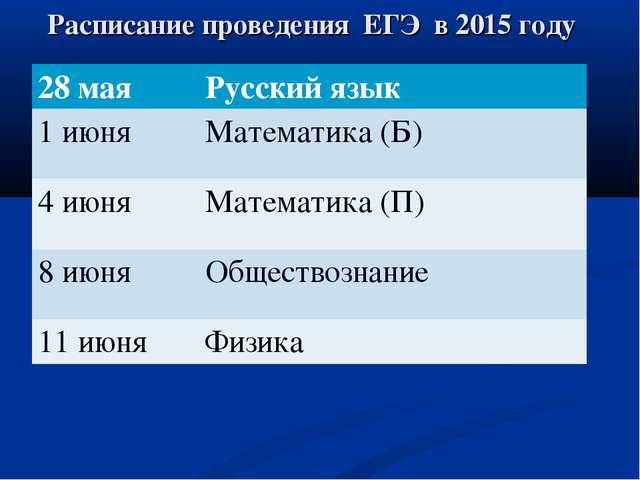 Расписание проведения ЕГЭ в 2015 году 28 мая Русский язык 1 июняМатематика...