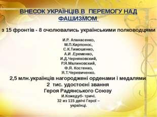 ВНЕСОК УКРАЇНЦІВ В ПЕРЕМОГУ НАД ФАШИЗМОМ з 15 фронтів - 8 очолювались українс