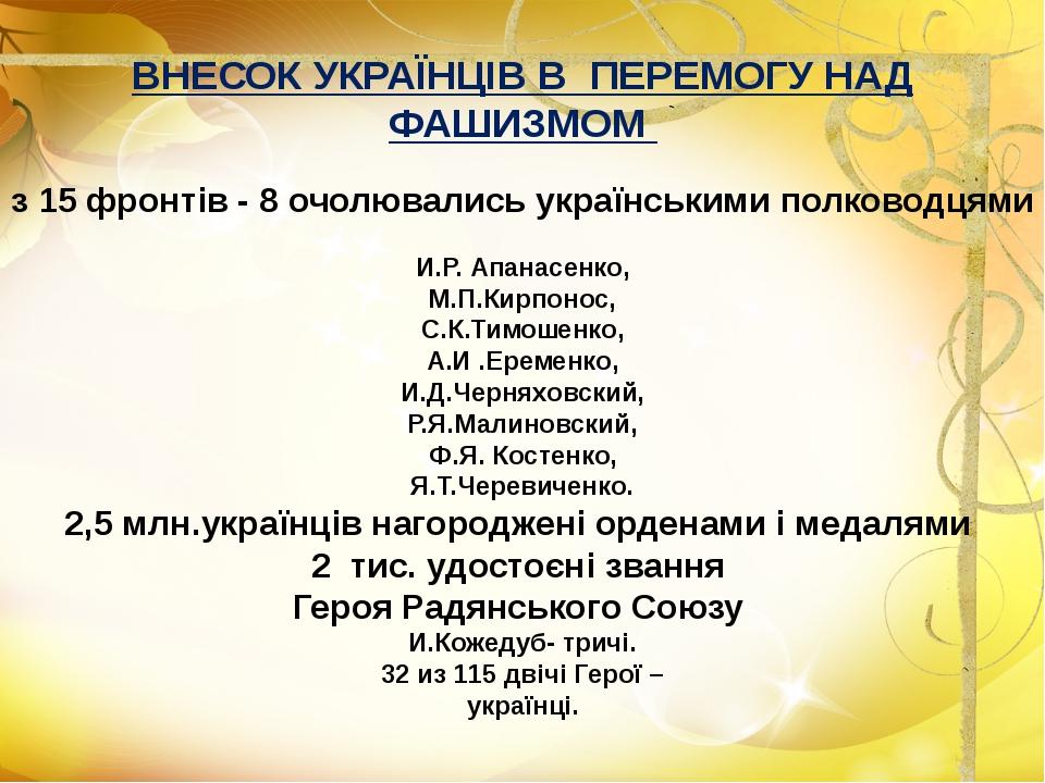 ВНЕСОК УКРАЇНЦІВ В ПЕРЕМОГУ НАД ФАШИЗМОМ з 15 фронтів - 8 очолювались українс...