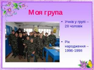 Моя група Учнів у групі – 28 чоловік Рік народження – 1996-1998