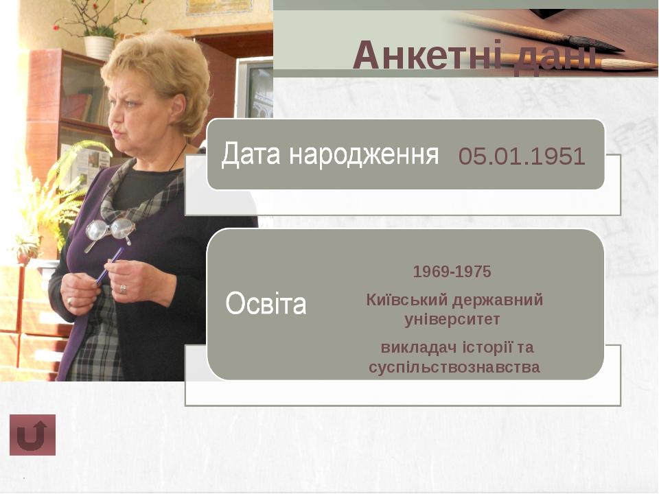 Анкетні дані Кваліфікаційна вища категорія категорія викладач-методист Дата...