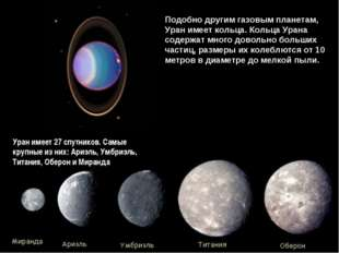Подобно другим газовым планетам, Уран имеет кольца. Кольца Урана содержат мно