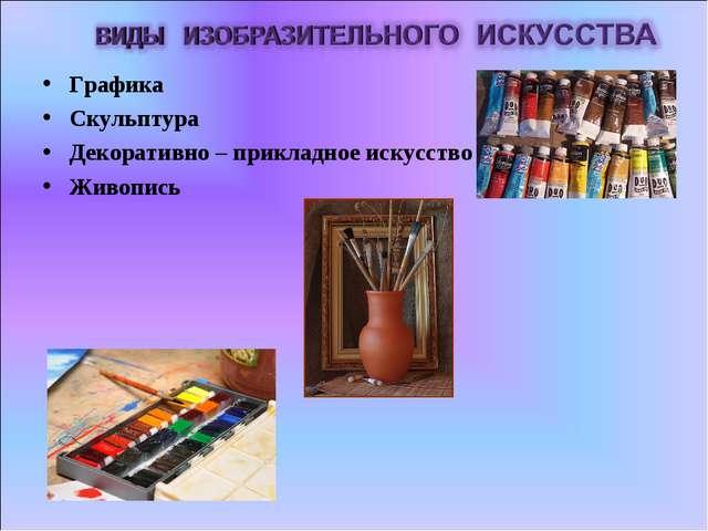 Графика Скульптура Декоративно – прикладное искусство Живопись