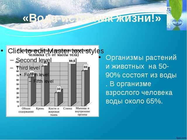 «Вода-источник жизни!» Организмы растений и животных на 50-90% состоят из вод...