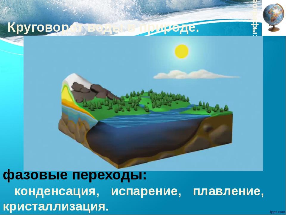 Круговорот воды в природе. Географы: фазовые переходы: конденсация, испарение...
