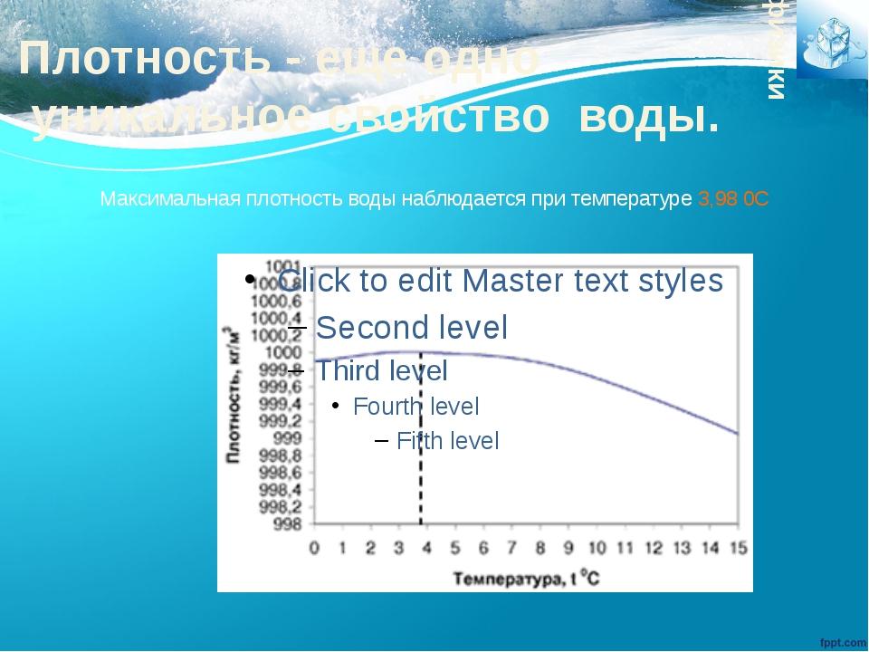 Максимальная плотность воды наблюдается при температуре 3,98 0С физики Плотно...
