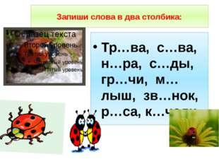 Запиши слова в два столбика: Тр…ва, с…ва, н…ра, с…ды, гр…чи, м…лыш, зв…нок, р