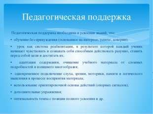Педагогическая поддержка Педагогическая поддержка необходима в усвоении знани