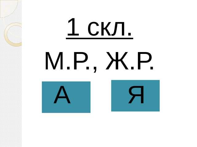 1 скл. М.Р., Ж.Р. А Я