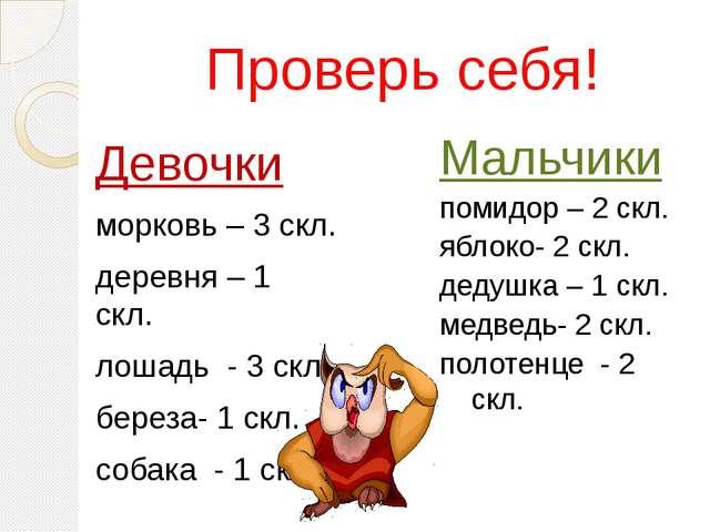 Проверь себя! Девочки морковь – 3 скл. деревня – 1 скл. лошадь - 3 скл. берез...