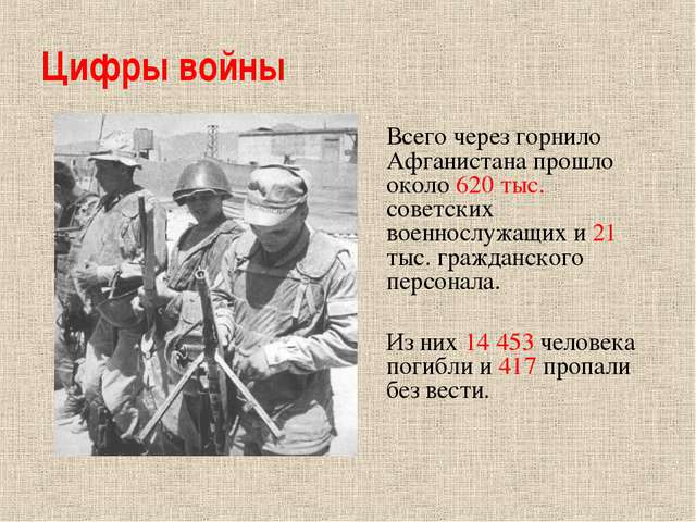 Цифры войны Всего через горнило Афганистана прошло около 620 тыс. советских в...