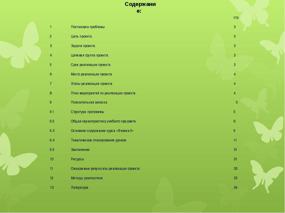 Содержание:   стр. 1 Постановка проблемы 3 2 Цель проекта 3 3 Задачи проект...