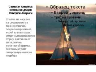 Северная Америка: жилище индейцев Северной Америки Шалаш на каркасе, изготовл