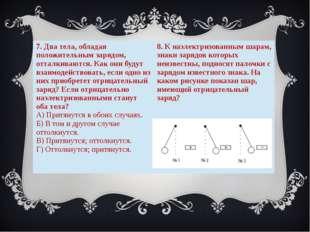 7. Два тела, обладая положительным зарядом, отталкиваются. Как они будут взаи