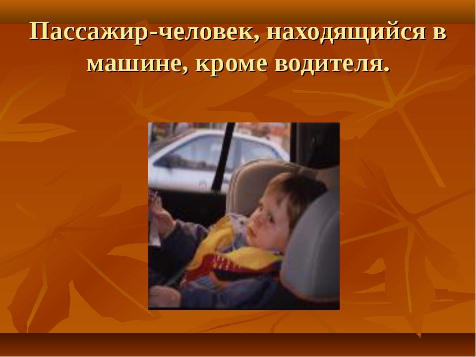 Пассажир-человек, находящийся в машине, кроме водителя.