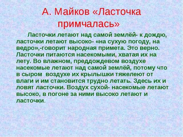А. Майков «Ласточка примчалась» Ласточки летают над самой землёй- к дождю,...