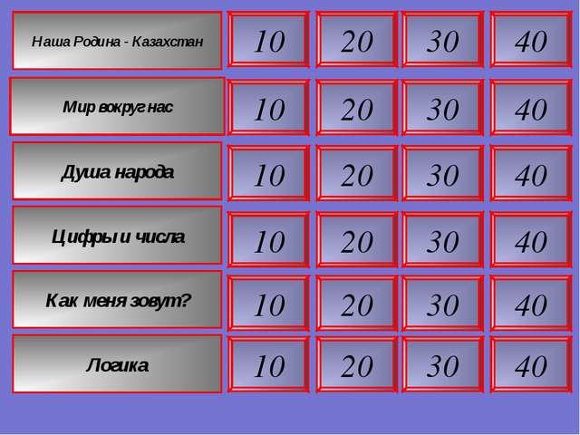 40 40 40 40 30 30 30 30 20 20 20 20 10 10 10 10 Наша Родина - Казахстан Мир в...