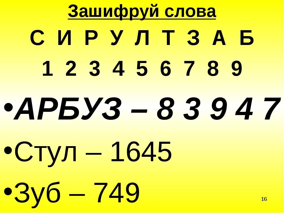 * Зашифруй слова С И Р У Л Т З А Б 1 2 3 4 5 6 7 8 9 АРБУЗ – 8 3 9 4 7 Стул –...