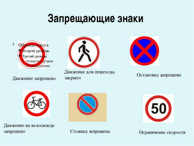 Запрещающие знаки Движение запрещено Движение для пешехода закрыто Остановка...