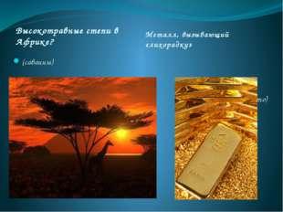 Высокотравные степи в Африке? Металл, вызывающий «лихорадку» (саванны) ( Золо